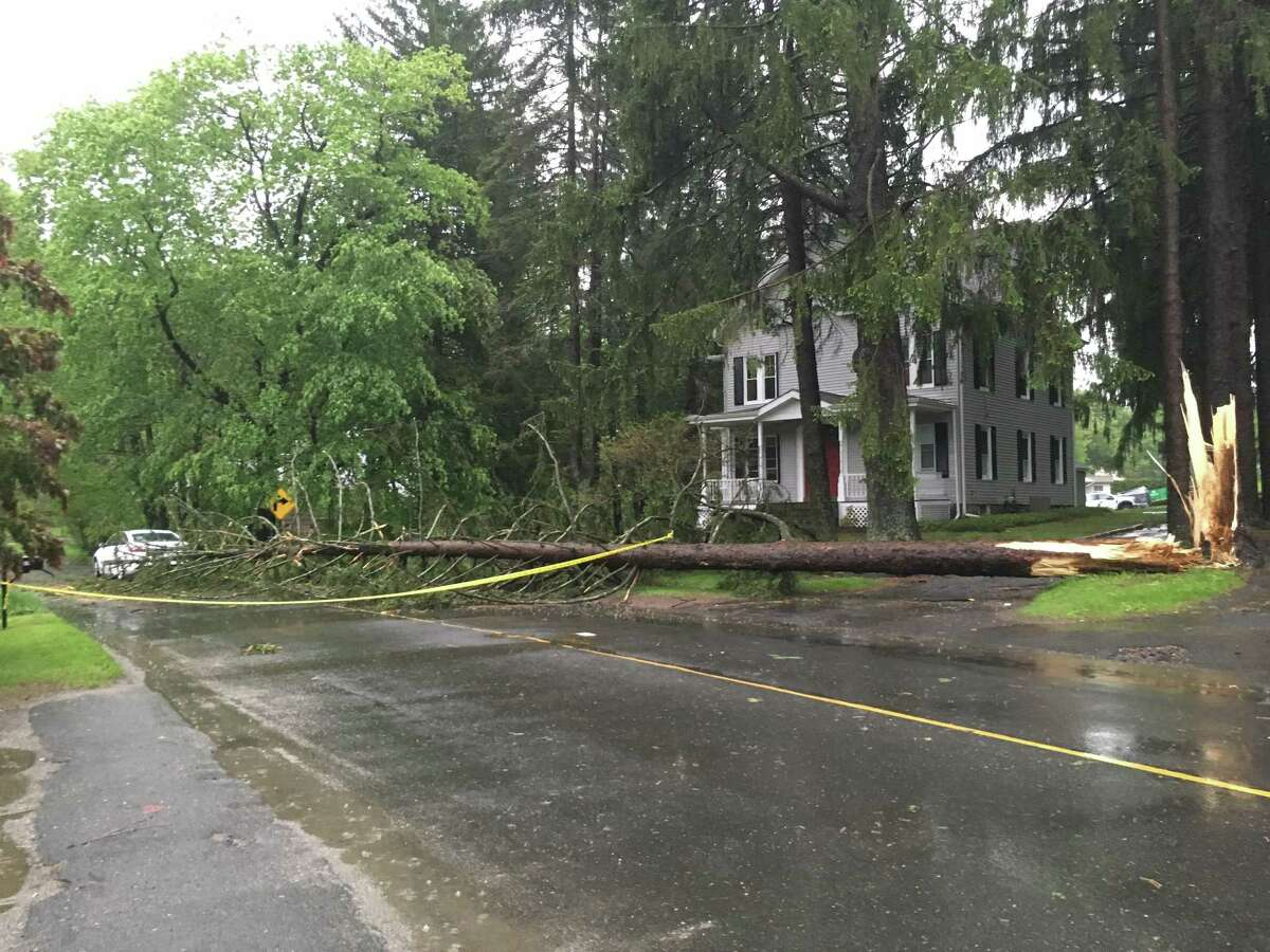 A tree came down on Wooster Street in Bethel during a possible tornado in the Danbury are on Tuesday, May 15, 2018.
