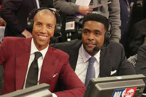 LOS ANGELES, CA - FEBRUARY 18: Reggie Miller and Chris Webber and are seen during NBA All-Star Saturday Night on February 18, 2018 in Los Angeles, California.  (Photo by Bobby Metelus/Getty Images)