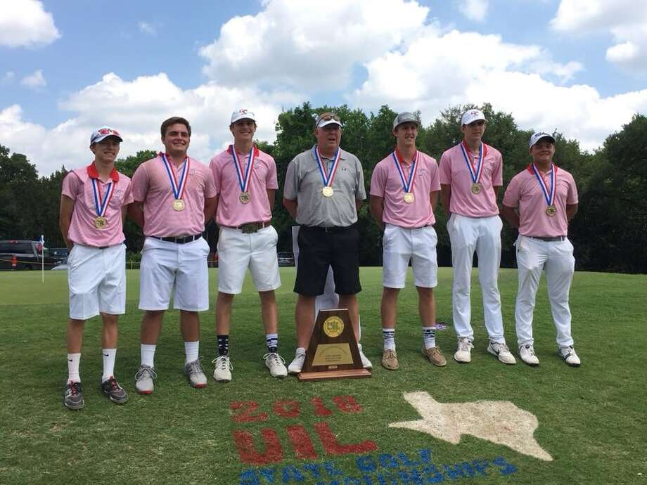 The  Garden City boys golf team poses after winning the UIL Class 1A state   championship on Tuesday at Austin's Lions Municipal Golf Course. From   left,Trent McMillan, Zach Burnett, Hagan Halfmann, coach David Wood,  Scott Miller, Dakota Roberts and Nick Lara