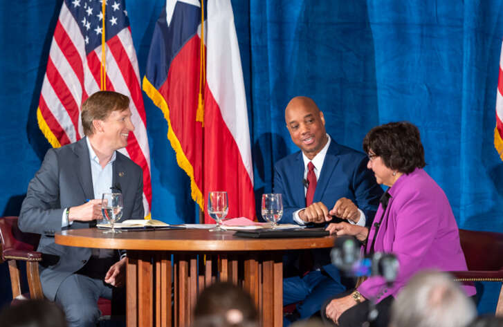 Andrew White, a Democratic gubernatorial candidate, smiles (right) at the May 11, 2018 Democratic gubernatorial debate in Austin with moderator Gromer Jeffers and candidate Lupe Valdez (James Stacy/Austin American-Statesman).