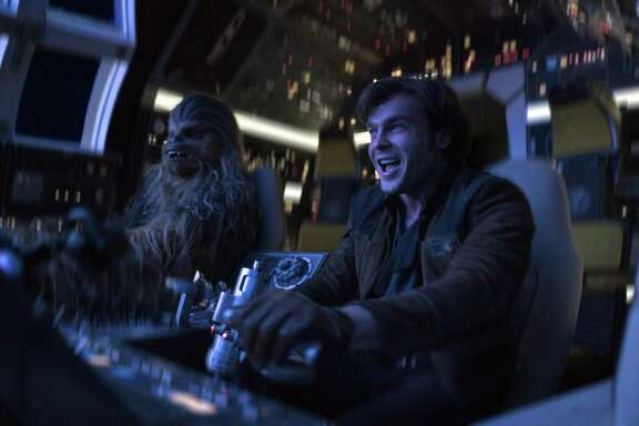 "Alden Ehrenreich, right, and Joonas Suotamo appear in a scene from ""Solo: A Star Wars Story."""