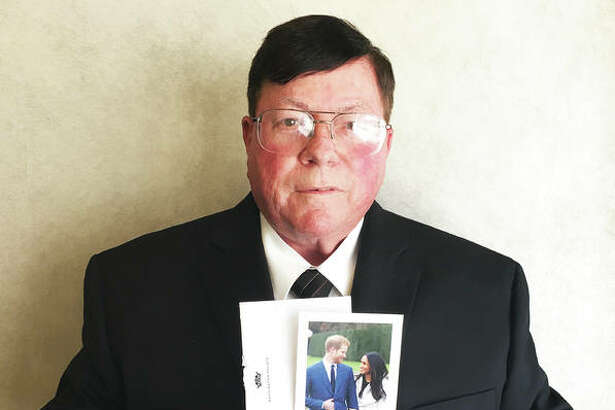 Retired accountant Kenneth Oliver, 71, of Godfrey, holds a reply from Kensington Palace, sent on behalf of royal couple Prince Harry and Meghan Markle. Oliver wrote in March to Kensington Palace at the couple's legal address, inspired by one-half of the couple being an American and one-half being a Briton, like Oliver's late parents; he received the reply in April. Oliver's father, E.H. Oliver, met English woman Alexandria Sherman during World War II, when he served in the U.S. Army. He and Sherman married overseas and moved to Alton, Illinois, in 1946, the year Ken Oliver was born. And, yes, Oliver, along with billions of people around the world, will be watching Saturday's royal wedding.