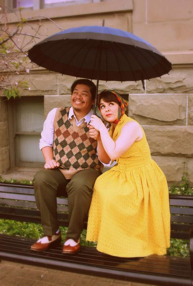 """From left: Tasi Alabastro as Walker/Ned andKatie O'Bryon Champlin as Nan/Lina in Dragon Theatre's """"Three Days of Rain."""" Photo: James Kasyan / Dragon Theatre"""
