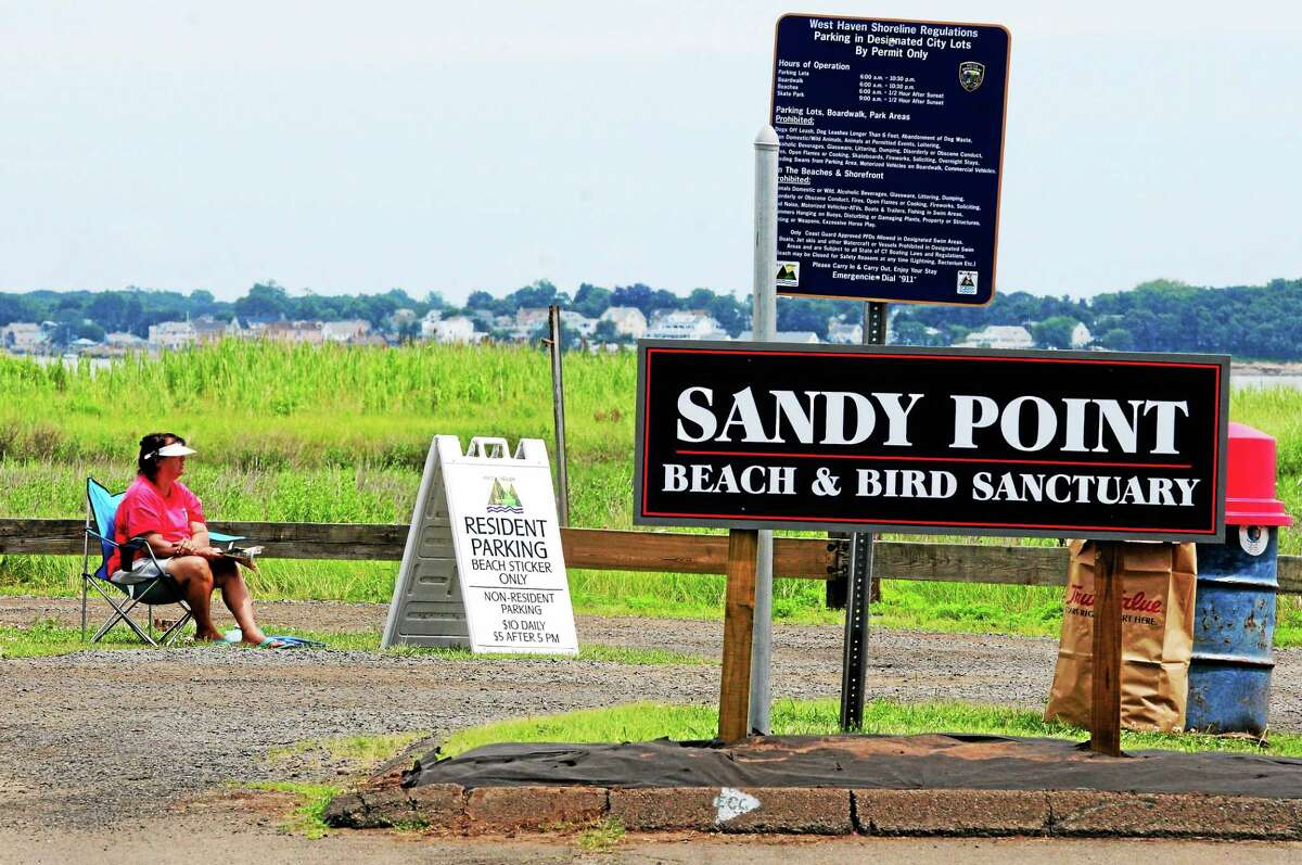 Sandy Point Beach and Bird Sanctuary parking lot on Beach Street and Third Avenue Extension in West Haven.