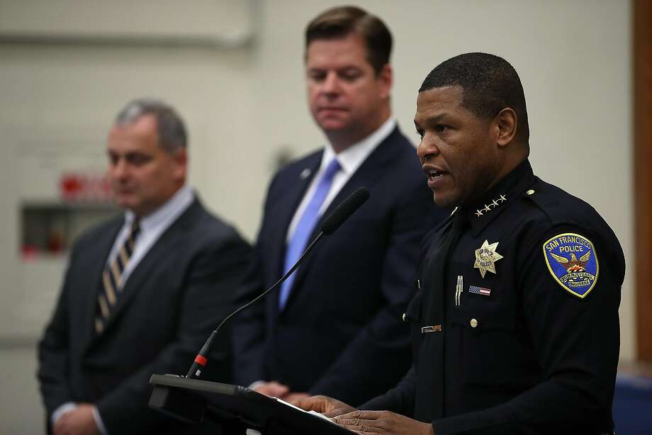 San Francisco Police Chief Bill Scott speaks during a news conference at the San Francisco Police Academy on Tuesday as Mayor Mark Farrell listens. The Board of Supervisors Tuesday refused to approve Farrell's renomination of two members of the city's police commission, leaving it without enough members to hold meetings. Photo: Justin Sullivan / Getty Images