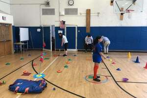 Students at Catskill Middle School participate in the Playground Golf Foundation instruction. (Photo courtesy Lucas Cohen)