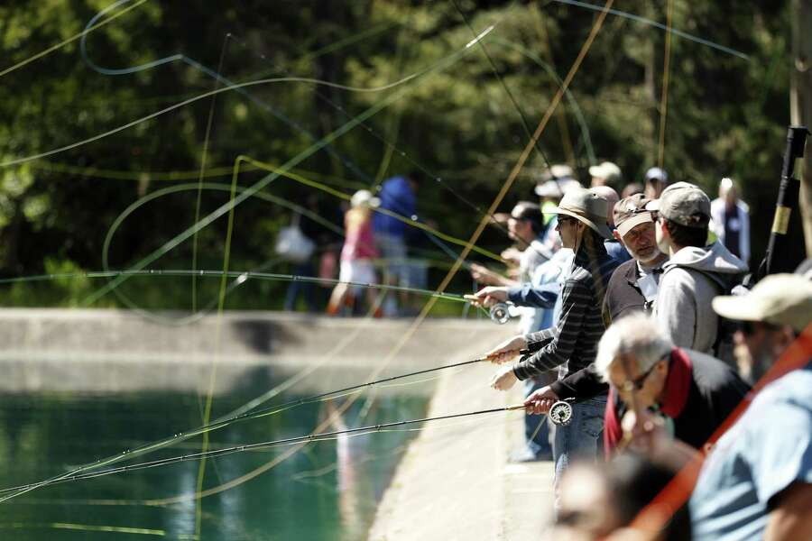 The Anglers Lodge and Casting Pools celebrate their 80th anniversary with free fly casting lessons in Golden Gate Park in San Francisco on Saturday, May 12, 2018. Photo: Scott Strazzante / The Chronicle / San Francisco Chronicle