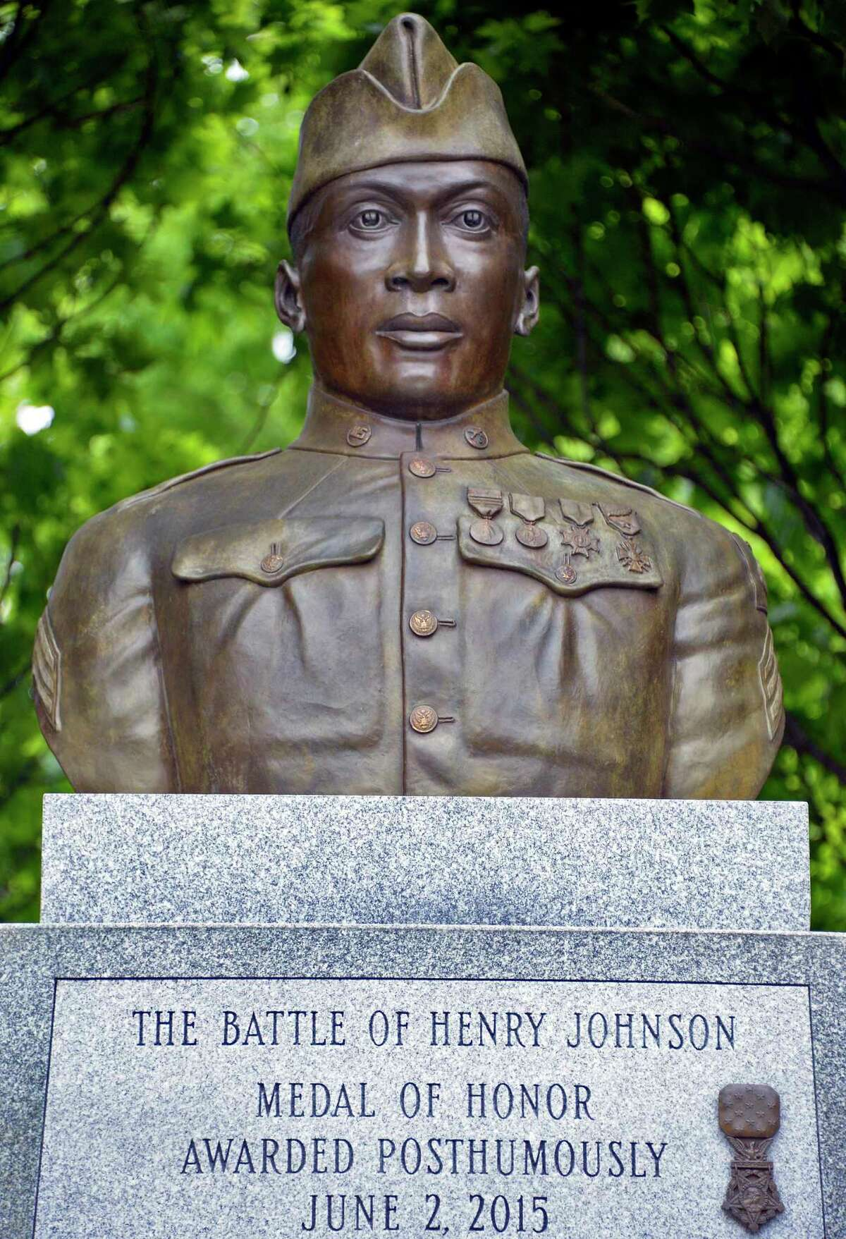 The Sgt. Henry Johnson statue in Washington Park. Johnson defeated nearly two dozen German soldiers in an intense battle in World War I, an act that won him the Medal of Honor.