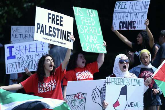 Students with the University of Houston group Students for Justice in Palestine, protest outside the Consulate General of Israel at Greenway Plaza on Tuesday, May 15, 2018, in Houston.