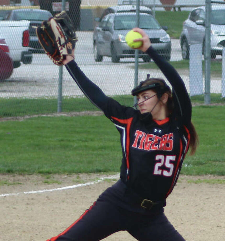 Edwardsville pitcher Jordyn Henricks, shown earlier this season throwing against Calhoun in Hardin, worked five innings Tuesday to earn the win against the Panthers in O'Fallon. Photo:       Greg Shashack / The Telegraph