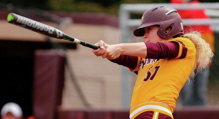 Central Michigan University's Maison Kalina follows through for a base hit. Kalina, a former Bullock Creek standout, recently earned First Team All-Mid American Conference honors for the second straight season. (CMUChippewas.com)