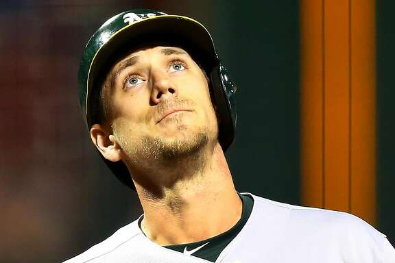 BOSTON, MA - MAY 15:  Stephen Piscotty #25 of the Oakland Athletics reacts as he crosses home plate on his solo home run in the second inning of a game against the Boston Red Sox at Fenway Park on May 15, 2018 in Boston, Massachusetts.  (Photo by Adam Glanzman/Getty Images)