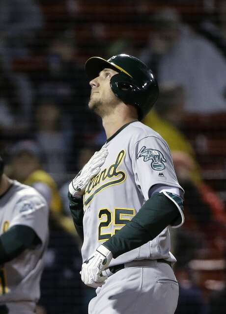 Oakland Athletics' Stephen Piscotty looks up as he arrives at home plate after hitting a home run off Boston Red Sox's Eduardo Rodriguez during the second inning of a baseball game Tuesday, May 15, 2018, in Boston. (AP Photo/Steven Senne) Photo: Steven Senne / Associated Press