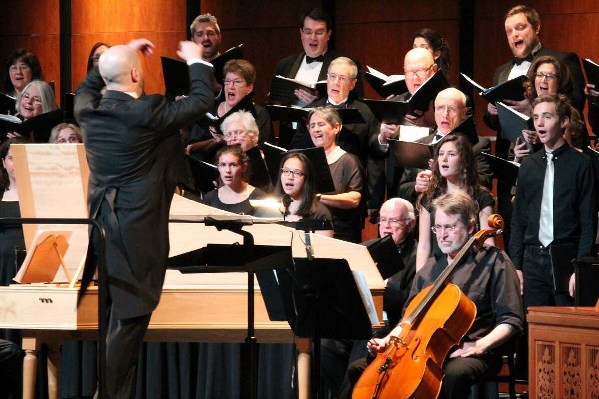 GMChorale members perform during their recent concert in April.