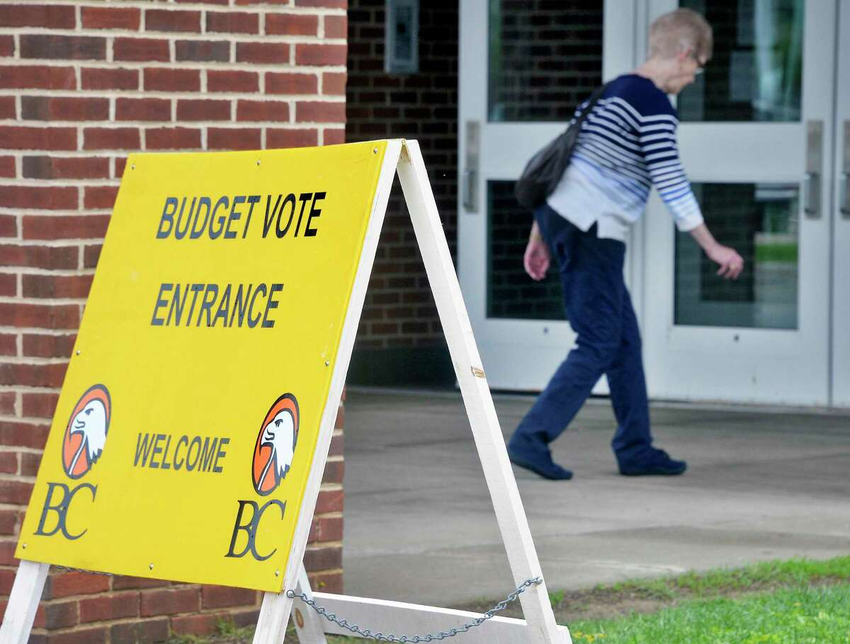 Voters turn out for the school budget vote at Bethlehem High School Tuesday May 15, 2018 in Bethlehem, NY. (John Carl D'Annibale/Times Union)