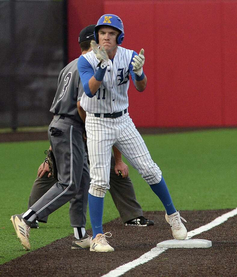 Kelly's William Burbank cheers as he makes it to third during their TAPPS state semifinal tournament bout against Concordia Lutheran at Crosby. Photo taken Tuesday, May 15, 2018 Kim Brent/The Enterprise Photo: Kim Brent, Beaumont Enterprise / BEN