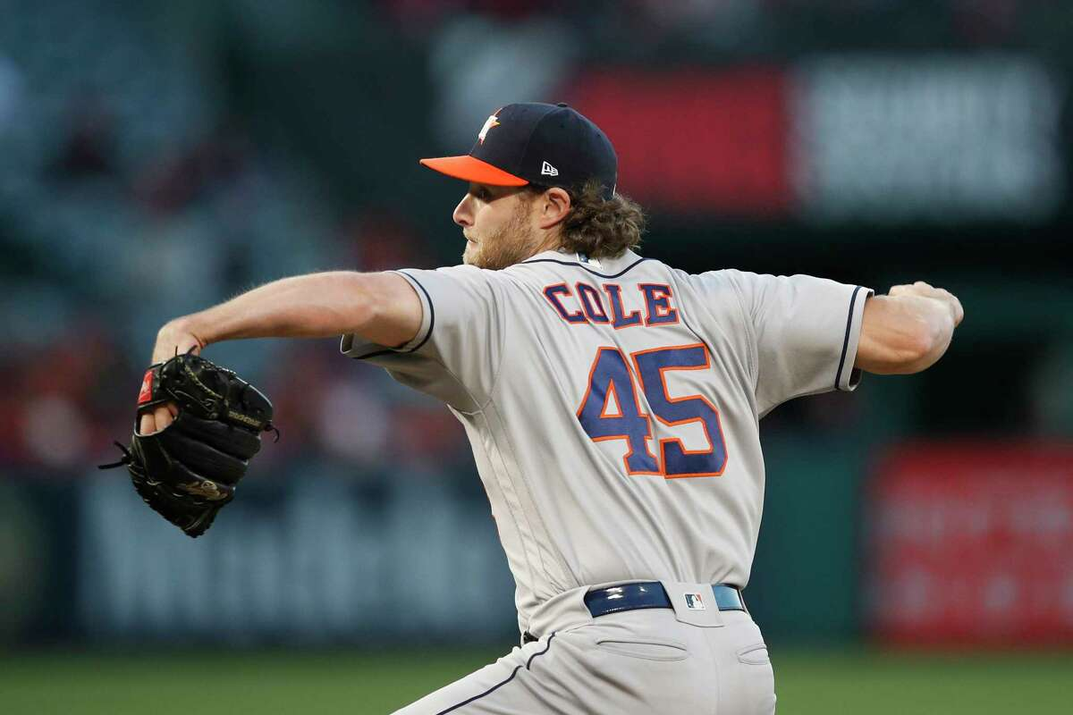Houston Astros starting pitcher Gerrit Cole throws to a Los Angeles Angels batter during the first inning of a baseball game Tuesday, May 15, 2018, in Anaheim, Calif. (AP Photo/Jae C. Hong)