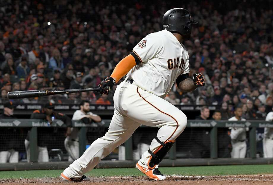 Pablo Sandoval of the San Francisco Giants hits a bases loaded two-run single against the Cincinnati Reds in the bottom of the fourth inning at AT&T Park on May 15, 2018 in San Francisco, California.  Photo: Thearon W. Henderson / Getty Images