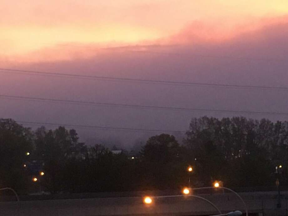 The sun rose Wednesday to show a shroud of fog around the National Weather Servivce's Albany office. Photo: National Weather Service Albany