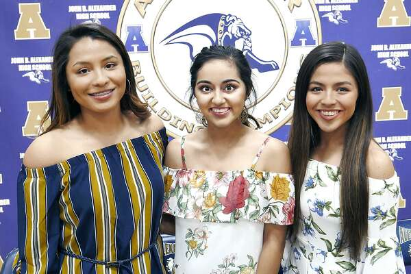 A trio of Alexander softball players signed their National Letters of Intent on Tuesday in the AHS gym. Viri Hernandez, left, and Arianna Herrera, center, will play for Laredo Community College, while Sheila Hernandez joined TAMIU.