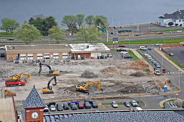 Demolition of the city's parking arcade off Court Street is 99 percent complete. Work began May 1 on the garage, which will be replaced by a single-floor gravel lot once work is complete. This photo is taken from the Middlesex Mutual building on Court Street.