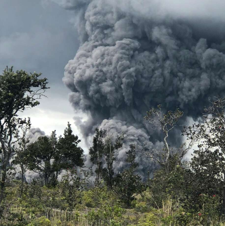 Kilauea's summit crater launched an ash plume into the air Tuesday, May 15, 2018. Photo: USGS