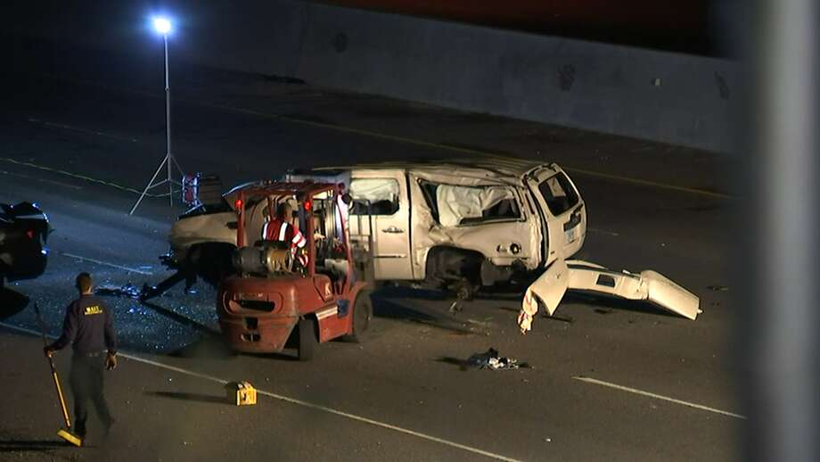 A driver in a Toyota Camry, arrested on suspicion of driving under the  influence of marijuana, caused a five-car crash that killed a mom, a  teen and a child and injured five others, the CHP said. May 16, 2018. Photo: KTVU