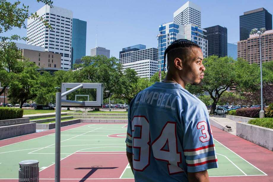 Houston Rockets guard Gerald Green poses against the Houston skyline at Root Memorial Square across from Toyota Center.  Photo: Michael Ciaglo, Houston Chronicle / Michael Ciaglo