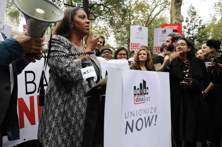 """Letitia """"Tish"""" James, Public Advocate for the City of New York, speaks during a November 2017 rally at City Hall Park.  (Spencer Platt/Getty Images) Photo: Spencer Platt, Getty / 2017 Getty Images"""