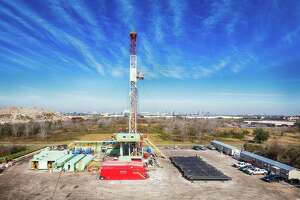 A rig operating at Fairway Energy Partners' Houston oil storage project. The company received a $6.5 million tax abatement from the city of Houston in 2016.