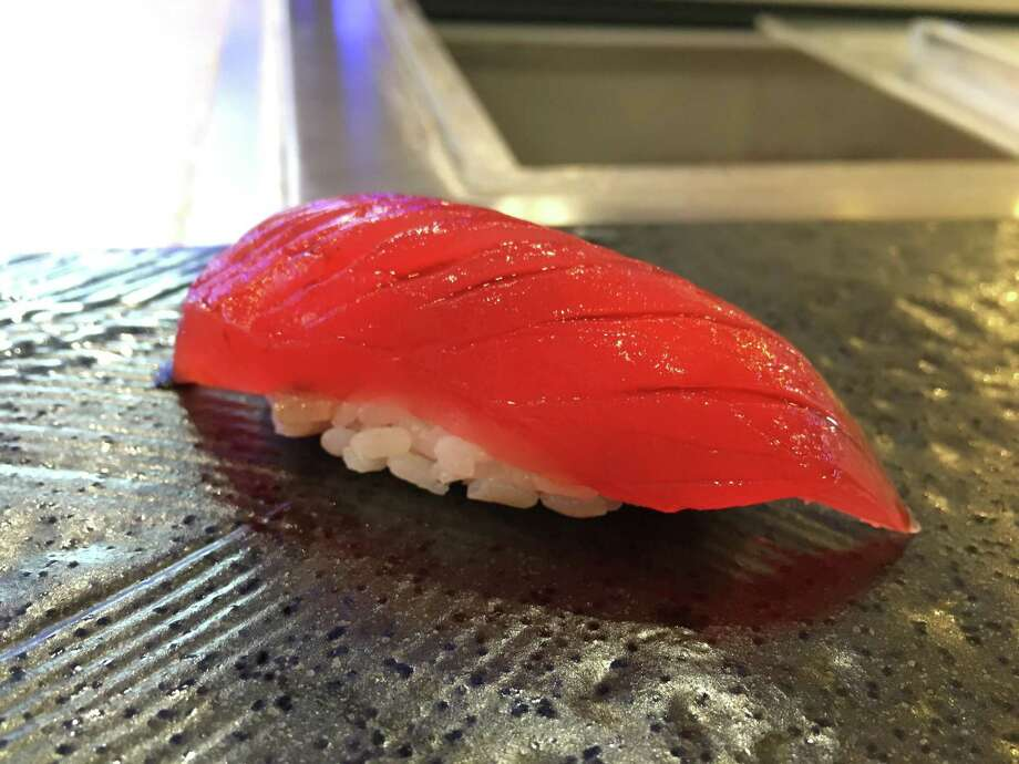 Cured tuna nigiri at Tobiuo Sushi & Bar Photo: Alison Cook / Houston Chronicle