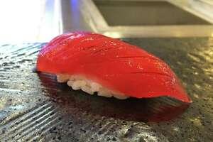 Cured tuna nigiri at Tobiuo Sushi & Bar
