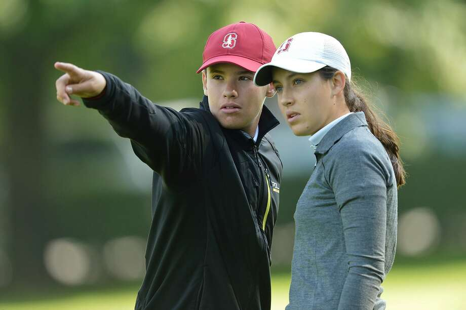 Stanford's Albane Valenzuela (right) finished second in the European Ladies Amateur Championship in July 2017, with younger brother Alexis (left) as her caddie. Photo: Courtesy Diane Valenzuela