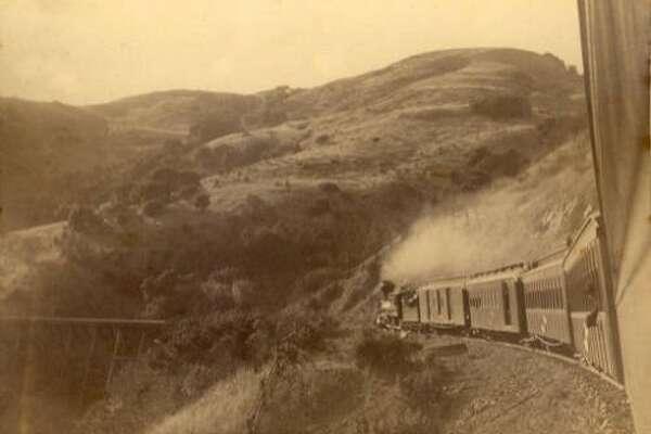 NOrth Pacific Coast train climbing White's Hill in Fairfax in 1889.