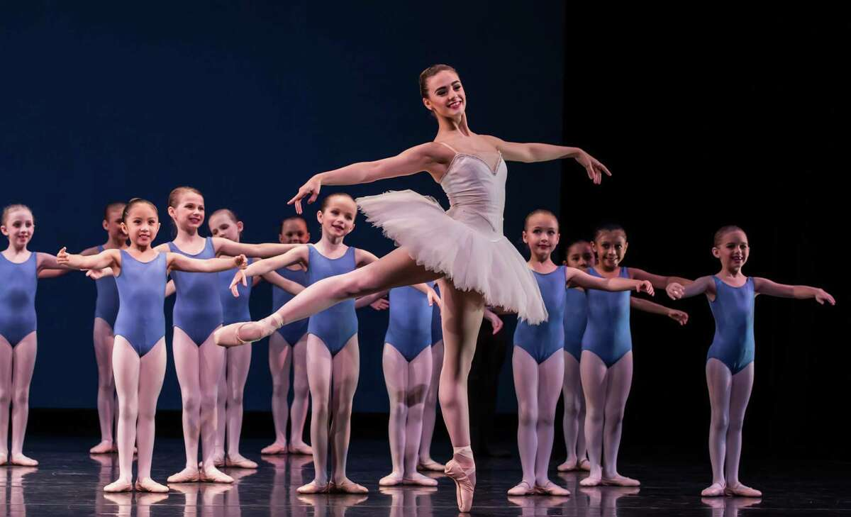 """Students of all ages from Houston Ballet Academy perform together in Stanton Welch's """"Studies,"""" one of the works that will be on the school's Spring Showcase program May 24-26 at Moores Opera House."""