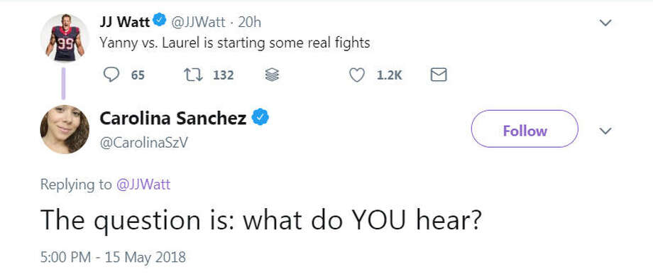 "Texans player J.J. Watt weighs in on the Yanny or Laurel debate. The internet has debated whether a robot voice is saying ""Yanny"" or ""Laurel"" after Cloe Feldman tweeted the recording on May 14, 2018. Image source: TwitterScroll ahead to see if J.J. Watt hears Yanny or Laurel.  Photo: Twitter"