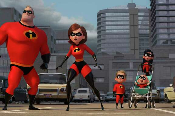 "Helen/Elastigirl (voiced by Holly Hunter) is saving the world while Bob/Mr. Incredible (voiced by Craig T. Nelson) stays home with the kids in ,""Incredibles 2,"" opens June 15."
