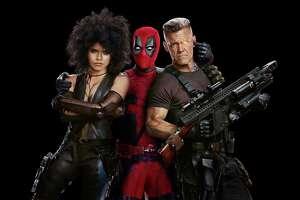 "Zazie Beetz, left, Ryan Reynolds and Josh Brolin in promo photos from the film ""Deadpool 2."""
