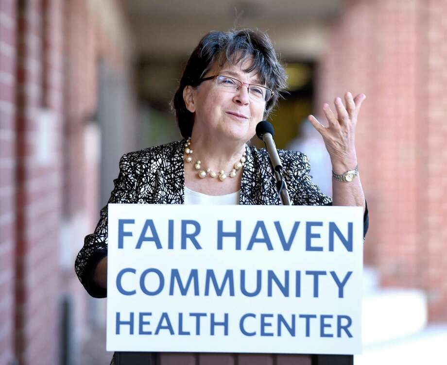 (Arnold Gold-New Haven Register)  Dr. Suzanne Lagarde, CEO of the Fair Haven Community Health Center, speaks at a ribbon cutting ceremony for the satellite clinic at 50 Grand Ave. in the Fair Haven section of New Haven on 10/16/2015.
