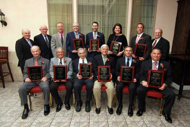 The Greater Bridgeport Athletic Association (Old Timers) honored a group of 10 at its 61st annual awards dinner on Monday at Testo's Restaurant. Front row, from left: Jim Penders, Ed Sylvia, Charles Panullo, Mickey Buckimir, Mike Ambrose, and John Torres. Back row: Bob Baroni, GBAA Board of Directors chairman; Tom Kansasky, president; invited guest John Pfohl, Kolbe-Cathedral CIAC Boys' Class IV state baskeball champions; Larry Menta, Craig Zysk, Tricia Fabbri, Keith Webster and Deacon Frank Masso of St. Lawrence Church, Shelton. Fabbri, Ambrose, Webster and Zysk were received Outstanding Athletic Achievement awards while Torres, Menta, Penders and Sylvia were recognized for their contributions to youth athletic, recreational and educational programs. Panulllo and Buckmir were presented GBAA Lifetime Achievement Awards. Chris Watts, boys coach of CIAC Class I state basketball champion Notre Dame-Fairfield was invited but unable to attend.