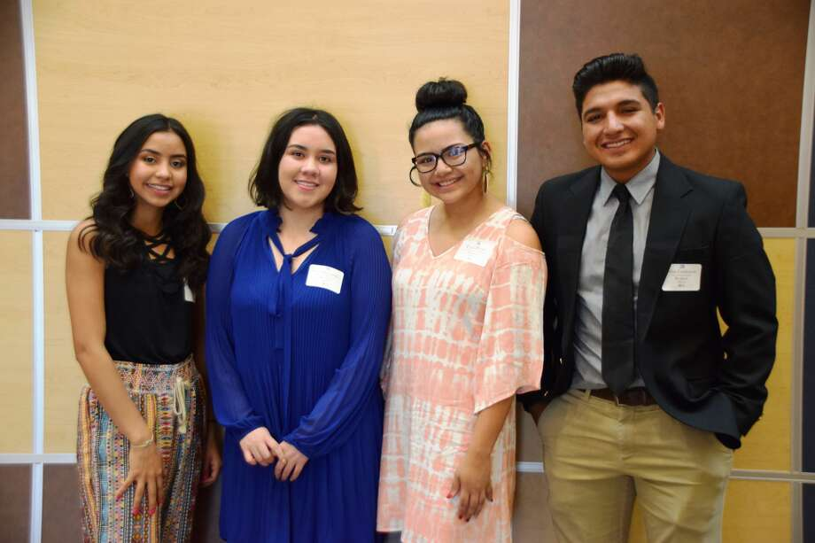 PHS senior Kristan Rincon (left) was named valedictorian, Lucy Hernandez was named salutatorian, Trini Perez was honored as the first recipient of the Nelda McQuien Laney Award, and John Patrick Ceniceros was honored as the LaVern Roach Memorial Award recipient during the 2018 Plainview High School Scholarship and Awards Assembly on Monday evening. Photo: Jan Seago/Plainview ISD