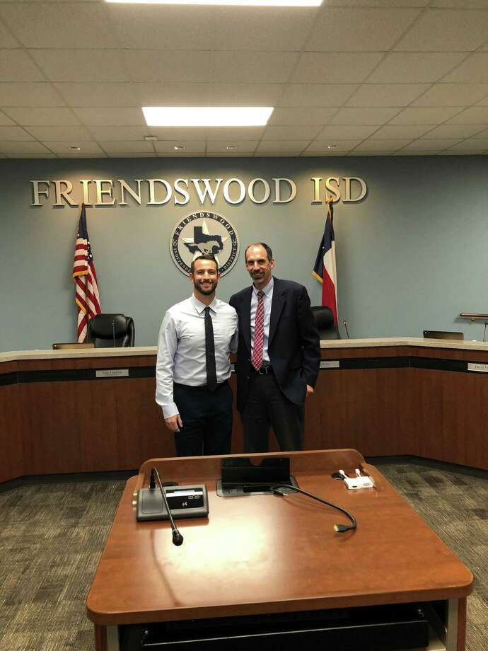 Cory Benavides (left) has been hired as the new head baseball coach at Friendswood High School. Benavides is shown with Friendswood ISD superintendent Thad Roher. Photo: Submitted Photo / Submitted Photo