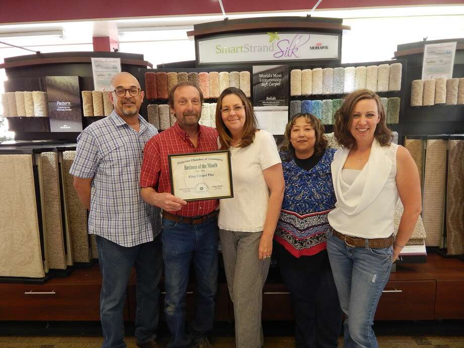 King Carpet Plus, represented by Teressa King, was recognized Tuesday as Chamber of Commerce Business of the Month. Located by 601 Broadway, the retail store opened in 2001, although the King family has been in the flooring business since the 1960s, with Teressa's husband, Ricky King, joining father Lynnvel King in the trade in 1978. King Carpet Plus has three full-time employees. Arnold Pardo is store manager. He's been at the store since 2004. King Carpet Plus offers complete flooring services for the area. They sell and install all types of residential and commercial flooring and consistently in the top five stores for sales of Mohawk Carpet and Flooring products in an 85-store region. Hours are 8:30 a.m.-6 p.m. Monday-Friday and 9 a.m.-3 p.m. Saturday. Photo: Doug McDonough/Plainview Herald