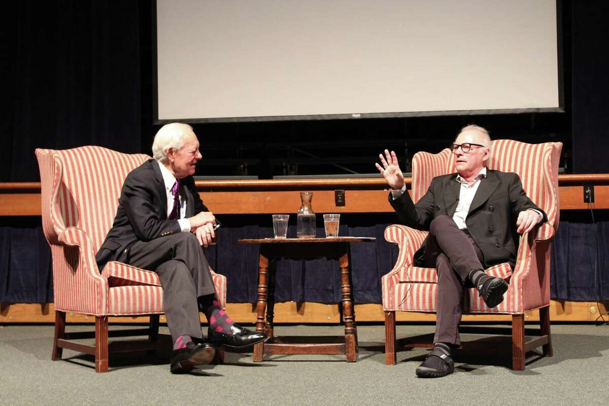 From left - Bob Schieffer and Barry Levinson share their stories at the New Canaan Country School in an event hosted by the nonprofit Horizons.