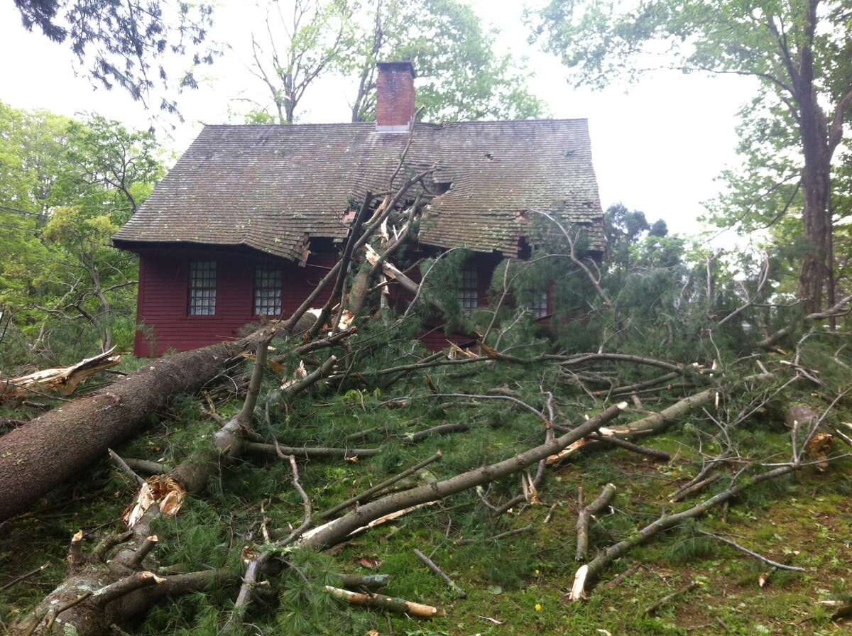 A tree fell on the historic Dickerman House on Mt. Carmel Avenue in Hamden during Tuesday's storm.