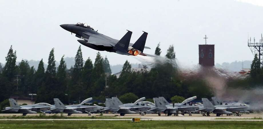 A South Korean fighter jet takes off during the Max Thunder joint military exercise with the U.S. Photo: Park Chul-hong / Associated Press