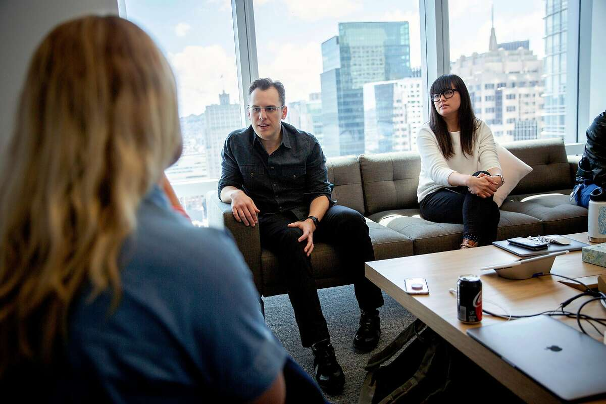 Instagram co-founder and CTO Mike Krieger (center) with product designer Mari Sheibley (right) at a meeting about Instagram Live at 181 Fremont Street, Tuesday, May 15, 2018, in San Francisco, Calif.