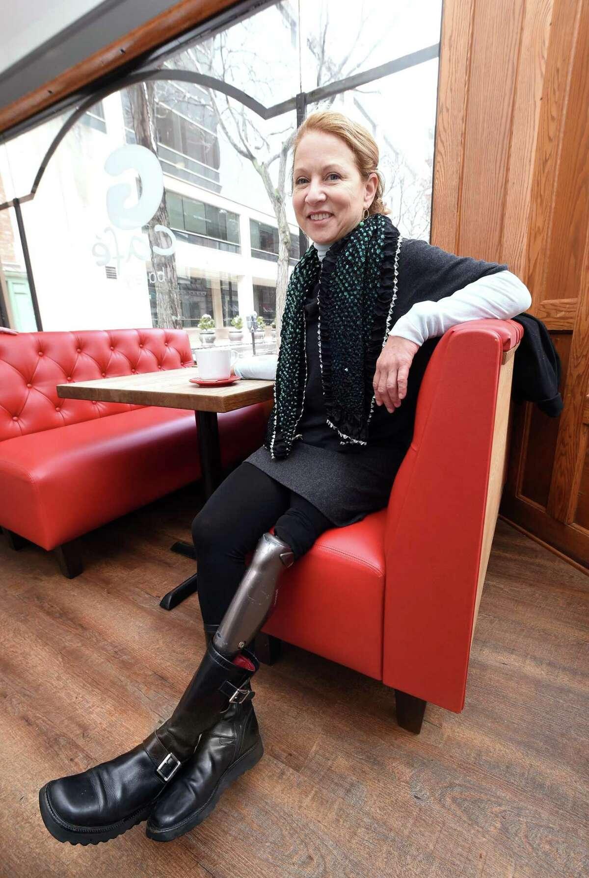 Brenda Novak of Branford advocated for better health insurance coverage for advanced prosthetics.