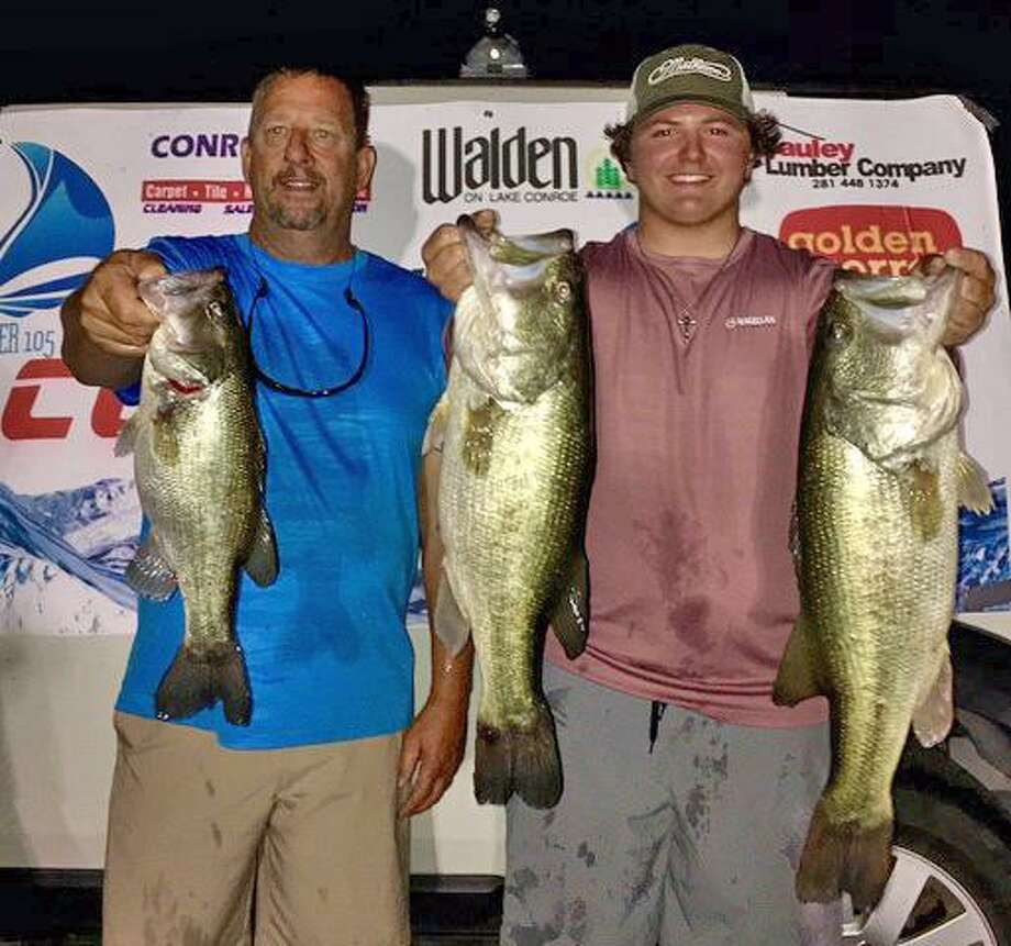 Parker Greer and Scott Offenbecher won the CONROEBASS Tuesday Tournament with a stringer total weight of 18.42 pounds. Photo: Conroe Bass