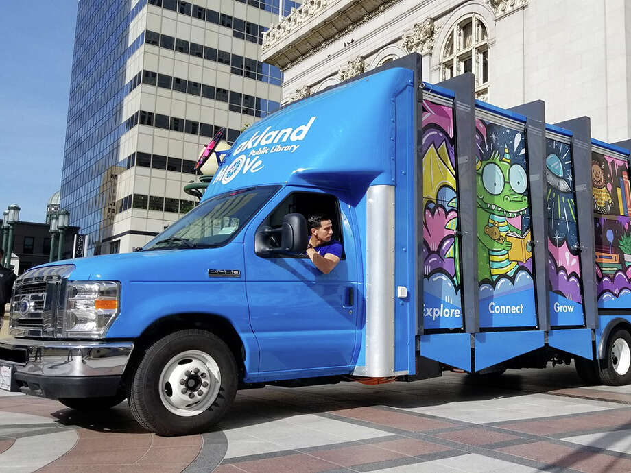 Oakland recently unveiled the Public Library Mobile Outreach Vehicle (MOVe), a customized vehicle that brings books, laptops, tablets, electronic charging stations and a Wi-Fi hotspot. Photo: Motiv Power Systems